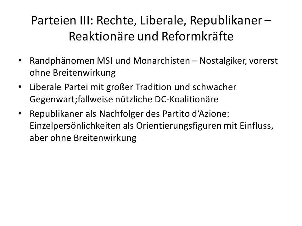 Parteien III: Rechte, Liberale, Republikaner – Reaktionäre und Reformkräfte Randphänomen MSI und Monarchisten – Nostalgiker, vorerst ohne Breitenwirku