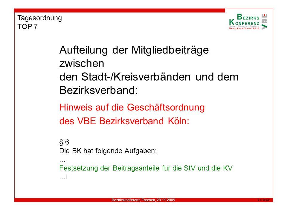 Bezirkskonferenz, Frechen, 28.11.2009 G. Böttger Tagesordnung TOP 7 Hinweis auf die Geschäftsordnung des VBE Bezirksverband Köln: § 6 Die BK hat folge