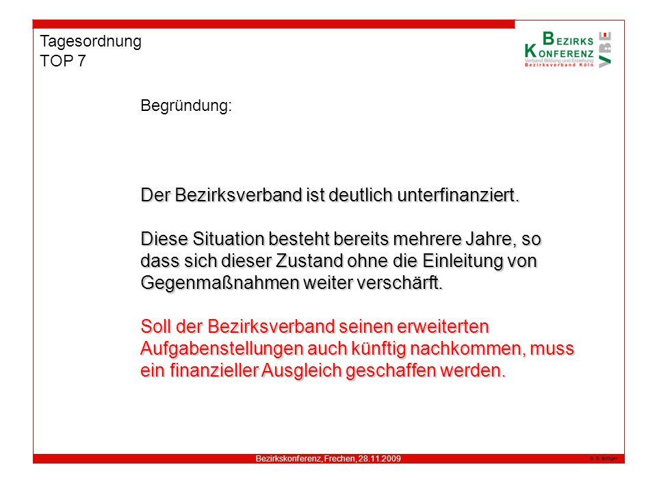 Bezirkskonferenz, Frechen, 28.11.2009 G. Böttger Tagesordnung TOP 7 Begründung: Der Bezirksverband istdeutlich unterfinanziert. Der Bezirksverband ist