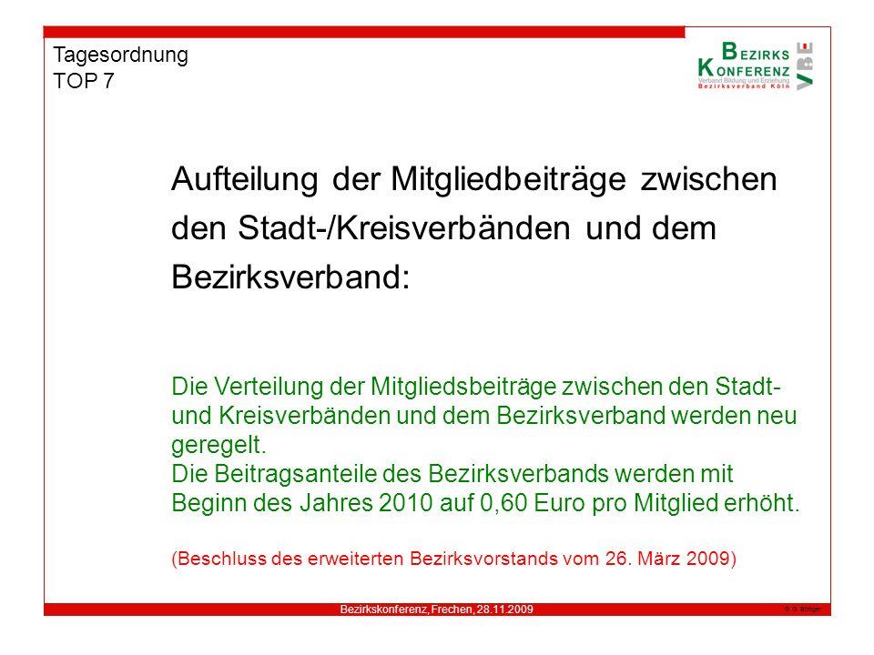 Bezirkskonferenz, Frechen, 28.11.2009 G. Böttger Tagesordnung TOP 7 Aufteilung der Mitgliedbeiträge zwischen den Stadt-/Kreisverbänden und dem Bezirks
