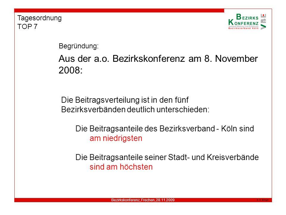 Bezirkskonferenz, Frechen, 28.11.2009 G. Böttger Tagesordnung TOP 7 Aus der a.o. Bezirkskonferenz am 8. November 2008: Begründung: Die Beitragsverteil
