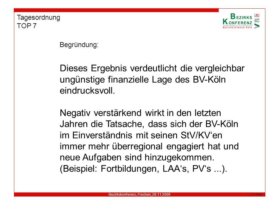 Bezirkskonferenz, Frechen, 28.11.2009 G. Böttger Tagesordnung TOP 7 Begründung: Dieses Ergebnis verdeutlicht die vergleichbar ungünstige finanzielle L