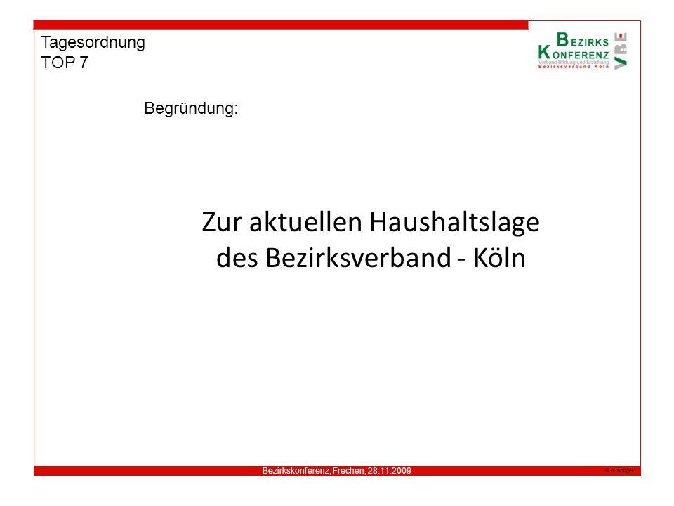 Bezirkskonferenz, Frechen, 28.11.2009 G. Böttger Tagesordnung TOP 7 Begründung: Zur aktuellen Haushaltslage des Bezirksverband - Köln