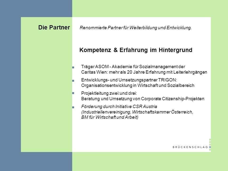 Die Partner Renommierte Partner für Weiterbildung und Entwicklung.