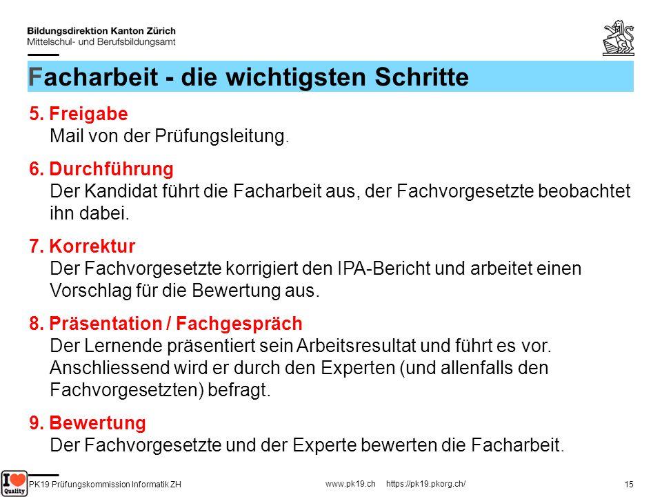 PK19 Prüfungskommission Informatik ZH www.pk19.ch https://pk19.pkorg.ch/ 15 Facharbeit - die wichtigsten Schritte 5. Freigabe Mail von der Prüfungslei