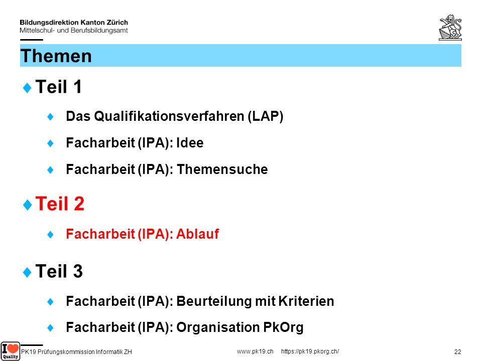 PK19 Prüfungskommission Informatik ZH www.pk19.ch https://pk19.pkorg.ch/ 22 Themen Teil 1 Das Qualifikationsverfahren (LAP) Facharbeit (IPA): Idee Fac