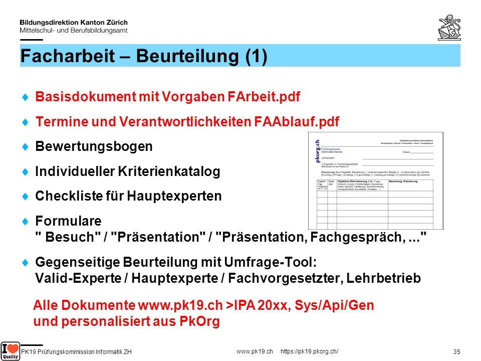 PK19 Prüfungskommission Informatik ZH www.pk19.ch https://pk19.pkorg.ch/ 35 Facharbeit – Beurteilung (1) Basisdokument mit Vorgaben FArbeit.pdf Termin