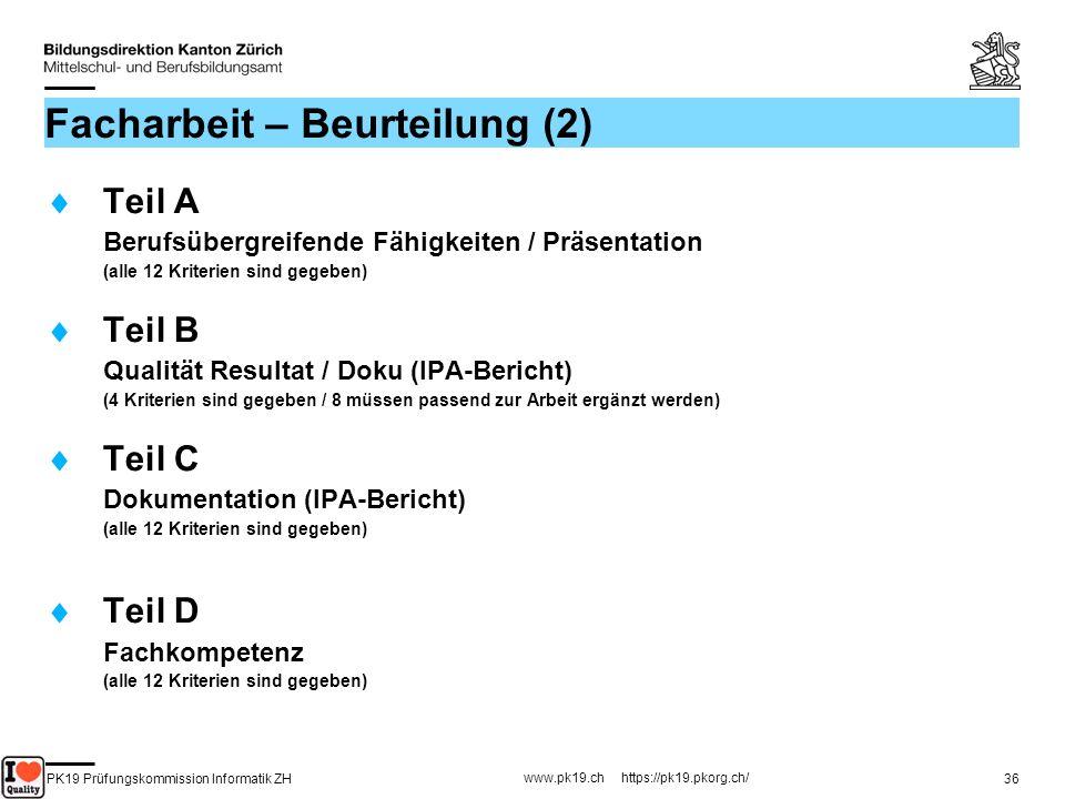 PK19 Prüfungskommission Informatik ZH www.pk19.ch https://pk19.pkorg.ch/ 36 Facharbeit – Beurteilung (2) Teil A Berufsübergreifende Fähigkeiten / Präs