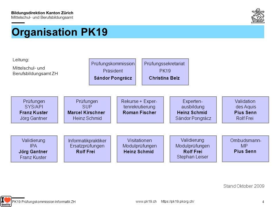 PK19 Prüfungskommission Informatik ZH www.pk19.ch https://pk19.pkorg.ch/ 4 Organisation PK19 Stand Oktober 2009 Leitung: Mittelschul- und Berufsbildun