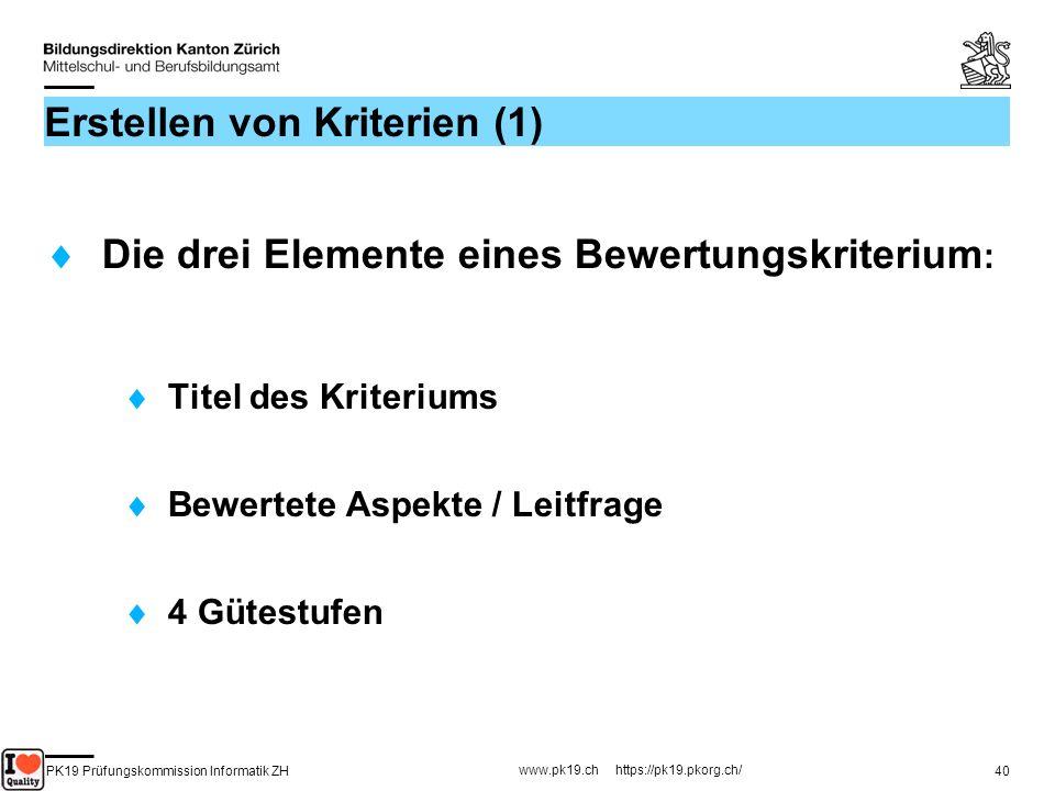 PK19 Prüfungskommission Informatik ZH www.pk19.ch https://pk19.pkorg.ch/ 40 Erstellen von Kriterien (1) Die drei Elemente eines Bewertungskriterium :