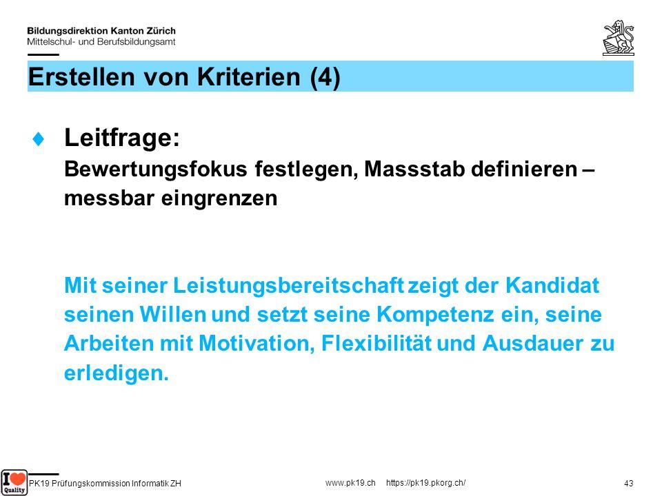 PK19 Prüfungskommission Informatik ZH www.pk19.ch https://pk19.pkorg.ch/ 43 Erstellen von Kriterien (4) Leitfrage: Bewertungsfokus festlegen, Massstab