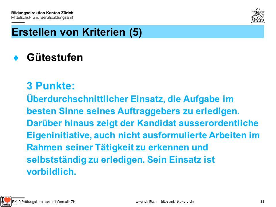 PK19 Prüfungskommission Informatik ZH www.pk19.ch https://pk19.pkorg.ch/ 44 Erstellen von Kriterien (5) Gütestufen 3 Punkte: Überdurchschnittlicher Ei