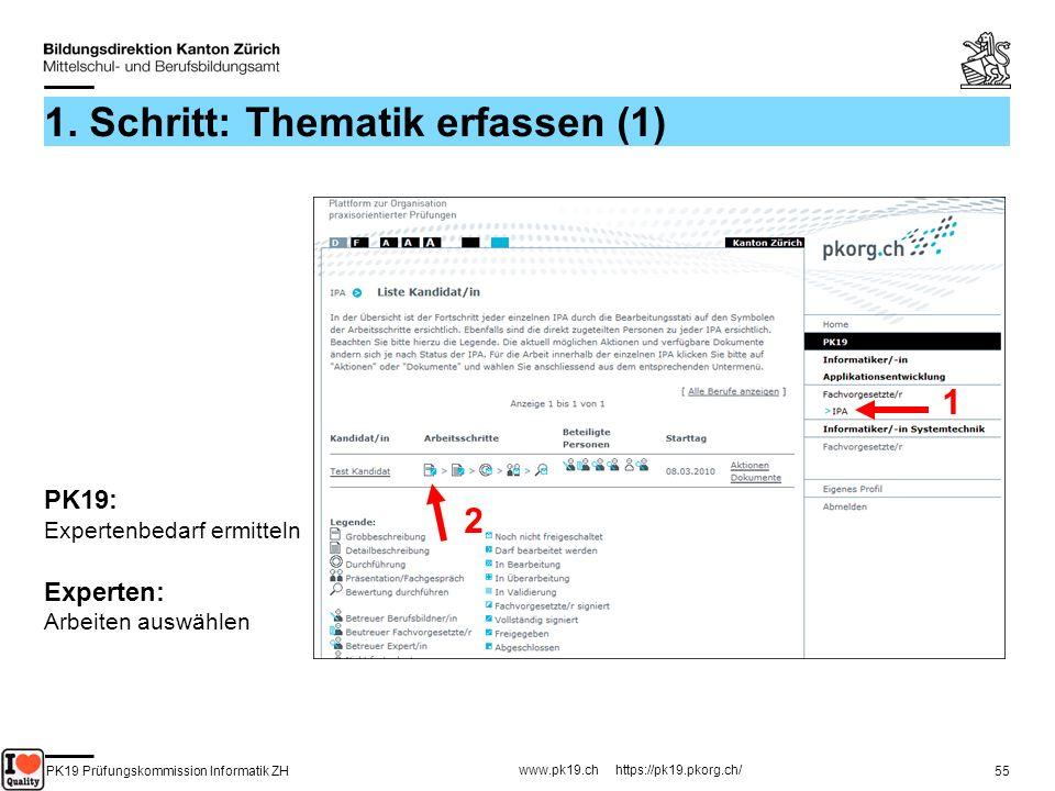 PK19 Prüfungskommission Informatik ZH www.pk19.ch https://pk19.pkorg.ch/ 55 1. Schritt: Thematik erfassen (1) 1 2 PK19: Expertenbedarf ermitteln Exper