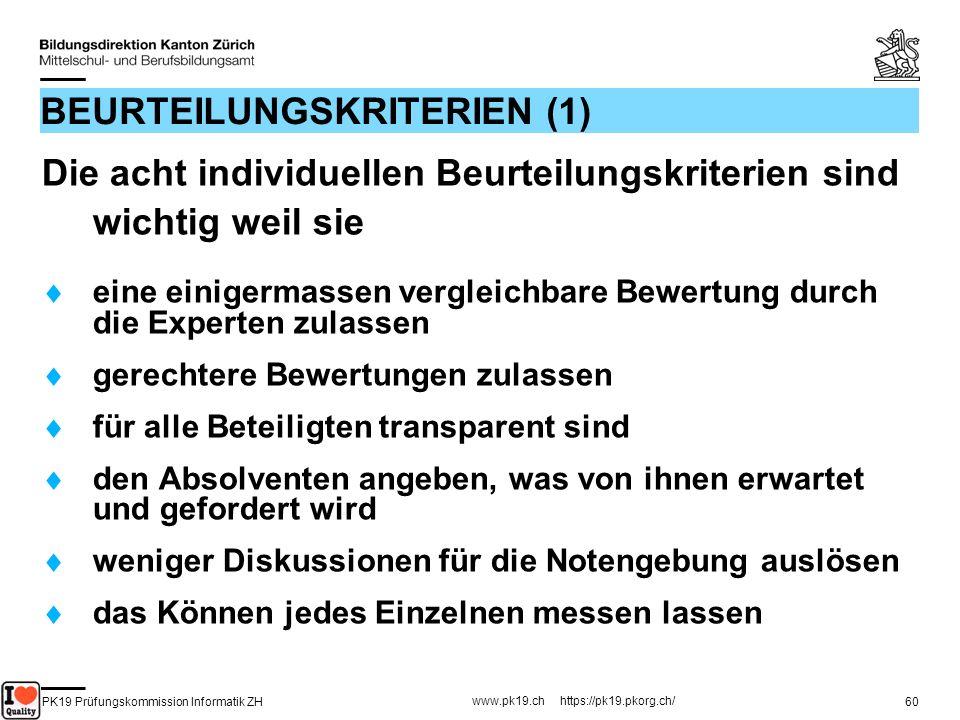 PK19 Prüfungskommission Informatik ZH www.pk19.ch https://pk19.pkorg.ch/ 60 BEURTEILUNGSKRITERIEN (1) Die acht individuellen Beurteilungskriterien sin
