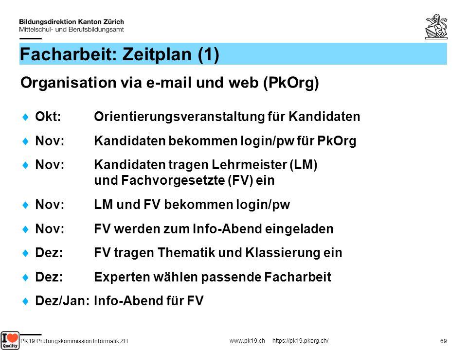 PK19 Prüfungskommission Informatik ZH www.pk19.ch https://pk19.pkorg.ch/ 69 Facharbeit: Zeitplan (1) Organisation via e-mail und web (PkOrg) Okt: Orie