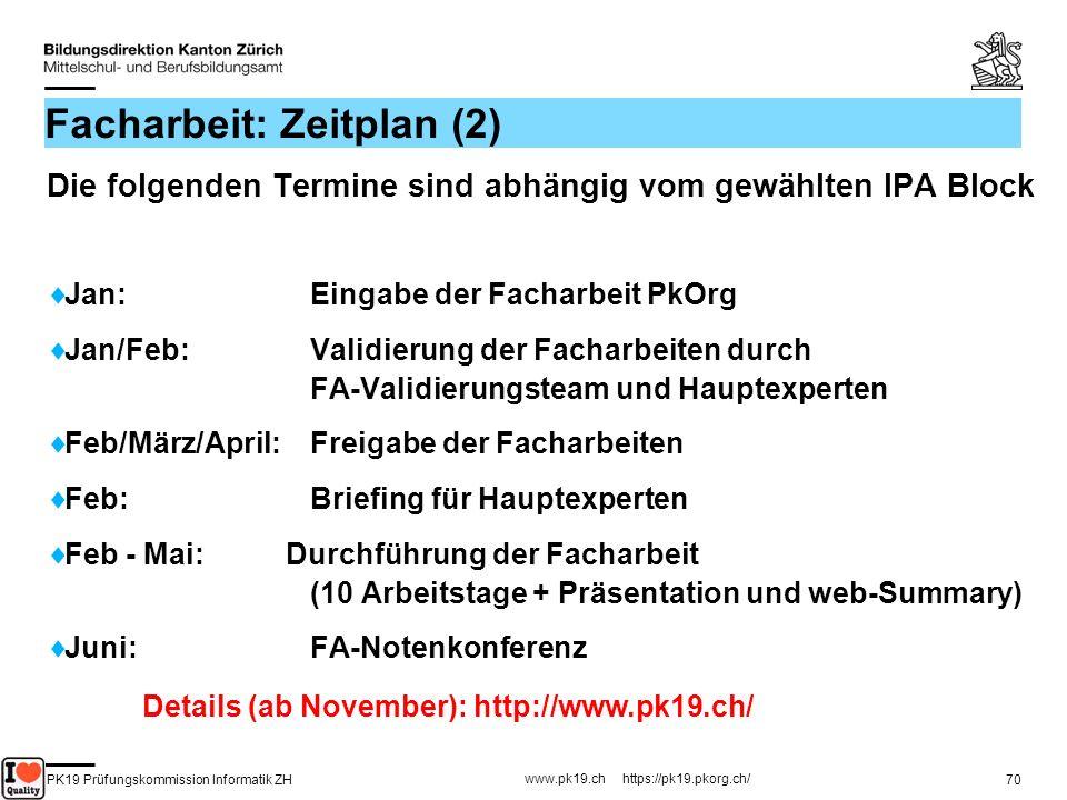 PK19 Prüfungskommission Informatik ZH www.pk19.ch https://pk19.pkorg.ch/ 70 Facharbeit: Zeitplan (2) Die folgenden Termine sind abhängig vom gewählten
