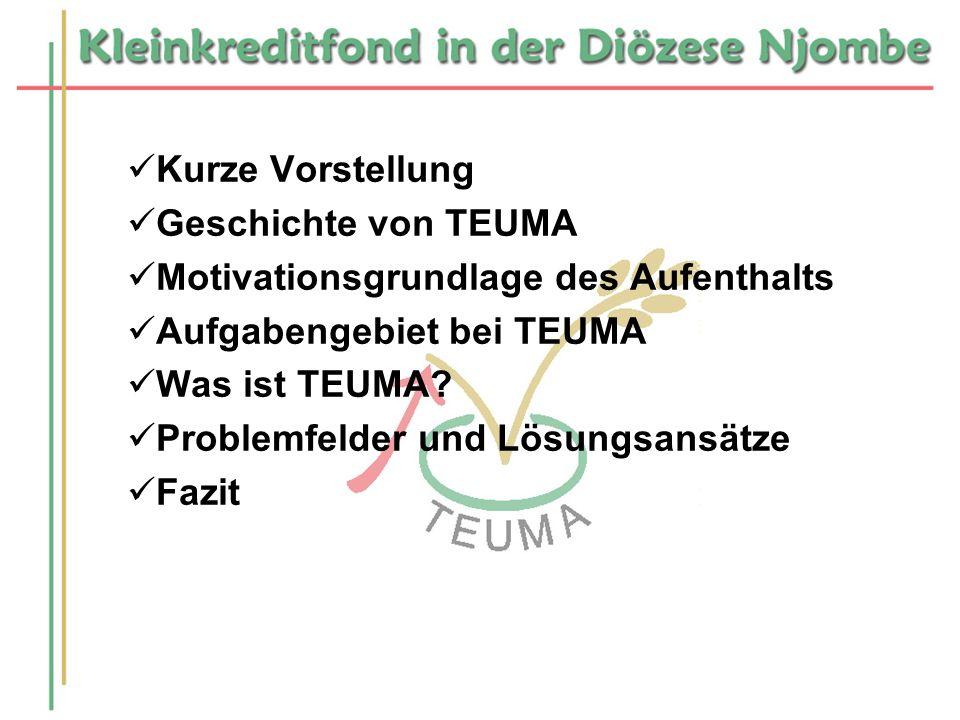 Kurze Vorstellung Geschichte von TEUMA Motivationsgrundlage des Aufenthalts Aufgabengebiet bei TEUMA Was ist TEUMA? Problemfelder und Lösungsansätze F