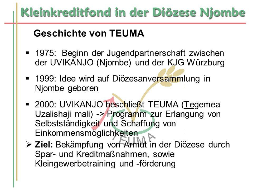 Geschichte von TEUMA 1975: Beginn der Jugendpartnerschaft zwischen der UVIKANJO (Njombe) und der KJG Würzburg 1999: Idee wird auf Diözesanversammlung