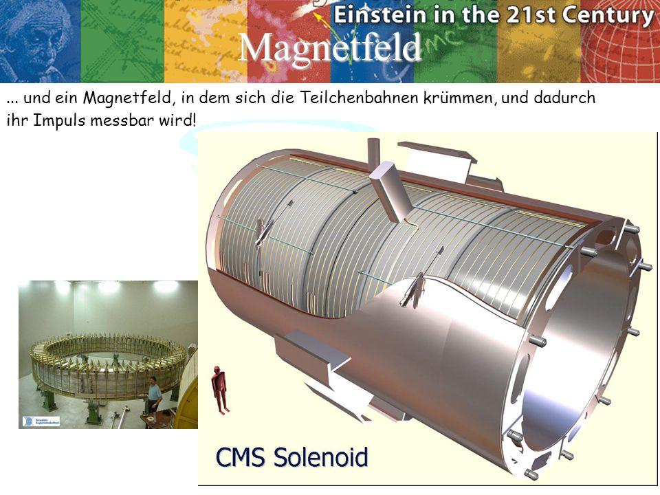 Magnetfeld... und ein Magnetfeld, in dem sich die Teilchenbahnen krümmen, und dadurch ihr Impuls messbar wird!