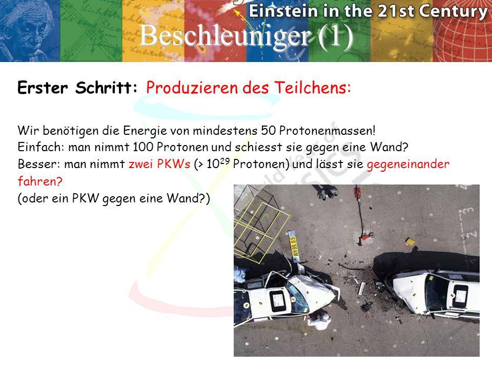 Beschleuniger (1) Erster Schritt: Produzieren des Teilchens: Wir benötigen die Energie von mindestens 50 Protonenmassen! Einfach: man nimmt 100 Proton