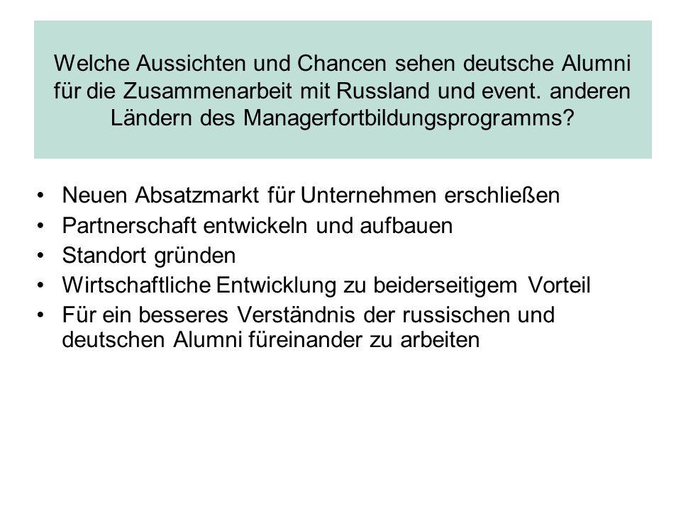 Welche Aussichten und Chancen sehen deutsche Alumni für die Zusammenarbeit mit Russland und event. anderen Ländern des Managerfortbildungsprogramms? N