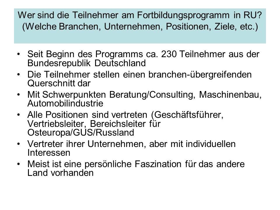 Wer sind die Teilnehmer am Fortbildungsprogramm in RU? (Welche Branchen, Unternehmen, Positionen, Ziele, etc.) Seit Beginn des Programms ca. 230 Teiln