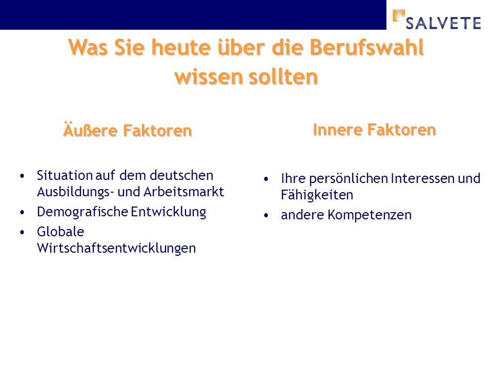 Was Sie heute über die Berufswahl wissen sollten Äußere Faktoren Situation auf dem deutschen Ausbildungs- und Arbeitsmarkt Demografische Entwicklung Globale Wirtschaftsentwicklungen Innere Faktoren Ihre persönlichen Interessen und Fähigkeiten andere Kompetenzen