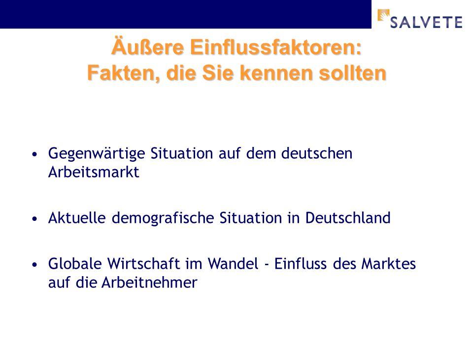 Äußere Einflussfaktoren: Fakten, die Sie kennen sollten Gegenwärtige Situation auf dem deutschen Arbeitsmarkt Aktuelle demografische Situation in Deutschland Globale Wirtschaft im Wandel - Einfluss des Marktes auf die Arbeitnehmer