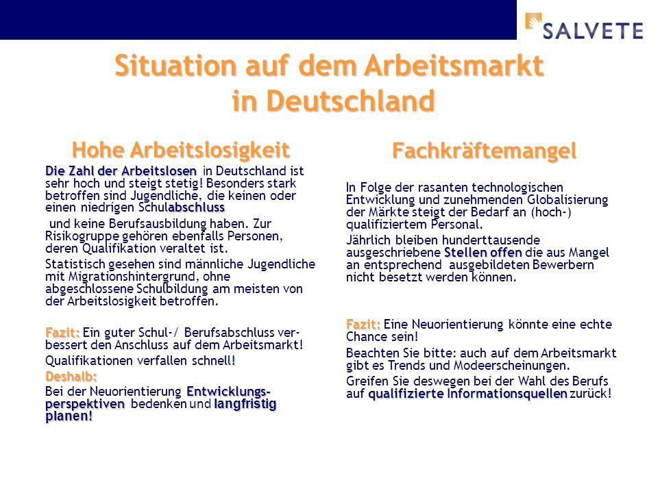 Situation auf dem Arbeitsmarkt in Deutschland Hohe Arbeitslosigkeit Die Zahl der Arbeitslosen abschluss Die Zahl der Arbeitslosen i n Deutschland ist sehr hoch und steigt stetig.