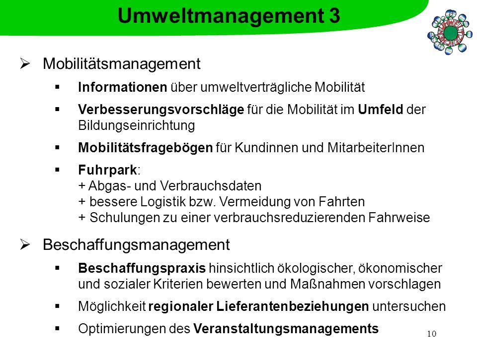 10 Mobilitätsmanagement Informationen über umweltverträgliche Mobilität Verbesserungsvorschläge für die Mobilität im Umfeld der Bildungseinrichtung Mo
