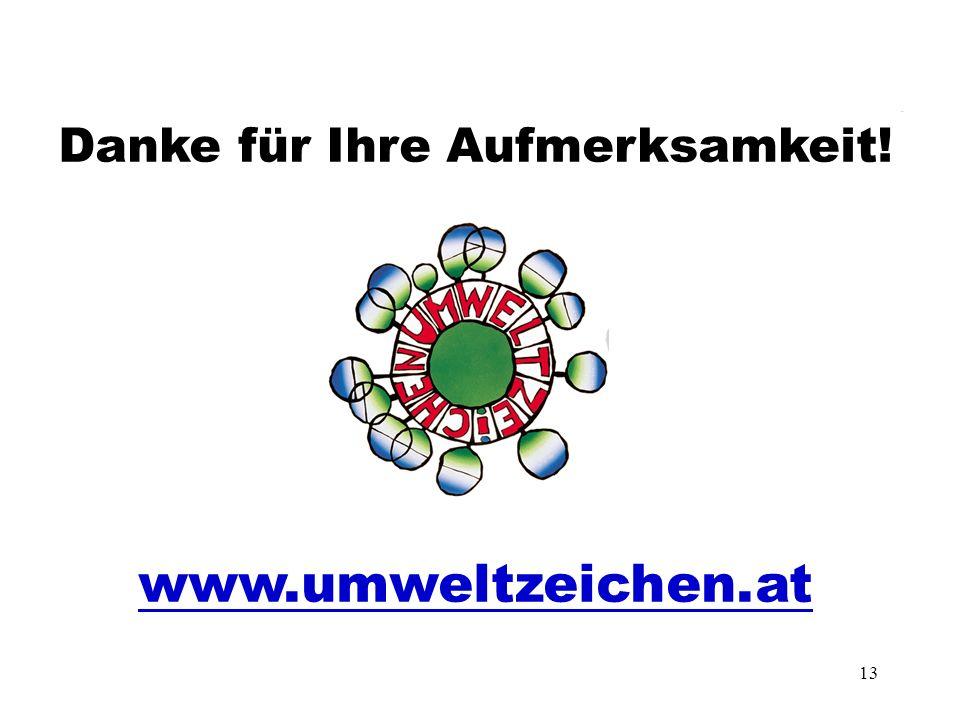 13 Danke für Ihre Aufmerksamkeit! www.umweltzeichen.at