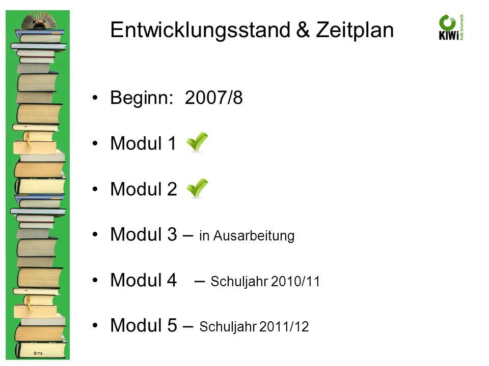 © ma Entwicklungsstand & Zeitplan Beginn: 2007/8 Modul 1 Modul 2 Modul 3 – in Ausarbeitung Modul 4 – Schuljahr 2010/11 Modul 5 – Schuljahr 2011/12