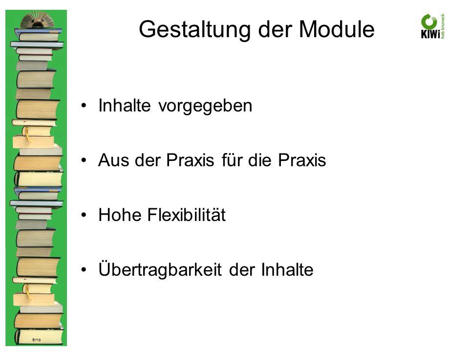 © ma Gestaltung der Module Inhalte vorgegeben Aus der Praxis für die Praxis Hohe Flexibilität Übertragbarkeit der Inhalte