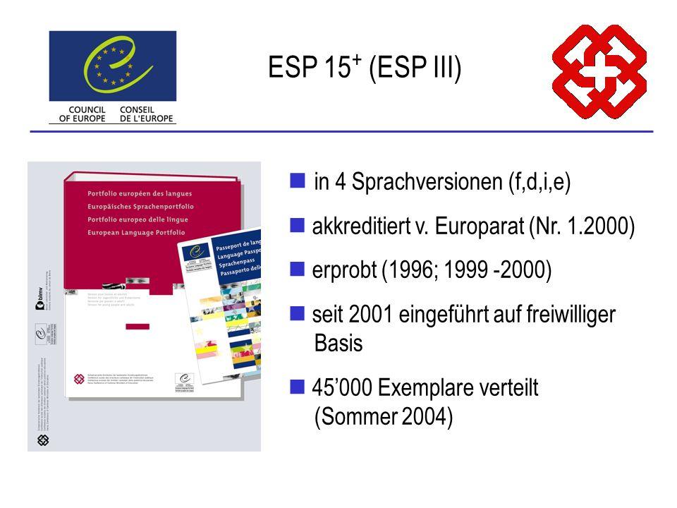 in 4 Sprachversionen (f,d,i,e) akkreditiert v. Europarat (Nr. 1.2000) erprobt (1996; 1999 -2000) seit 2001 eingeführt auf freiwilliger Basis 45000 Exe