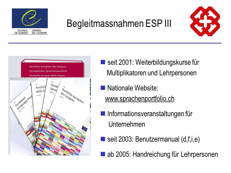 seit 2001: Weiterbildungskurse für Multiplikatoren und Lehrpersonen Nationale Website: www.sprachenportfolio.ch Informationsveranstaltungen für Unternehmen seit 2003: Benutzermanual (d,f,i,e) ab 2005: Handreichung für Lehrpersonen Begleitmassnahmen ESP III