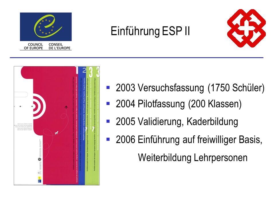 2003 Versuchsfassung (1750 Schüler) 2004 Pilotfassung (200 Klassen) 2005 Validierung, Kaderbildung 2006 Einführung auf freiwilliger Basis, Weiterbildu