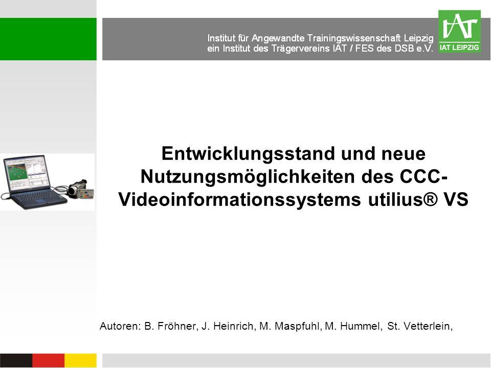 Autoren: B. Fröhner, J. Heinrich, M. Maspfuhl, M. Hummel, St. Vetterlein, Entwicklungsstand und neue Nutzungsmöglichkeiten des CCC- Videoinformationss