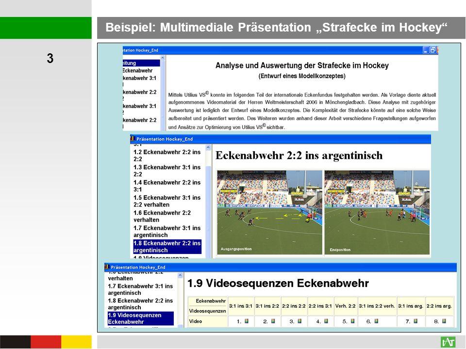 AVI: 196,0 MB WMV: 34,7 MBAVI: 196,0 MB WMV: 6,6 MB Beispiel: Multimediale Präsentation Strafecke im Hockey 3