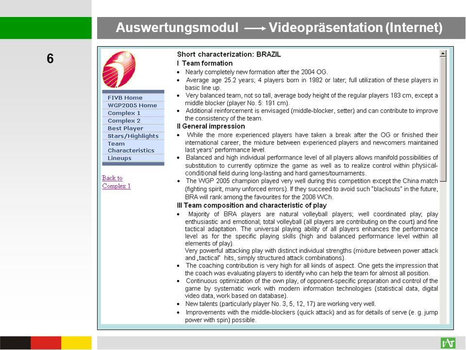 Auswertungsmodul Videopräsentation (Internet) 6