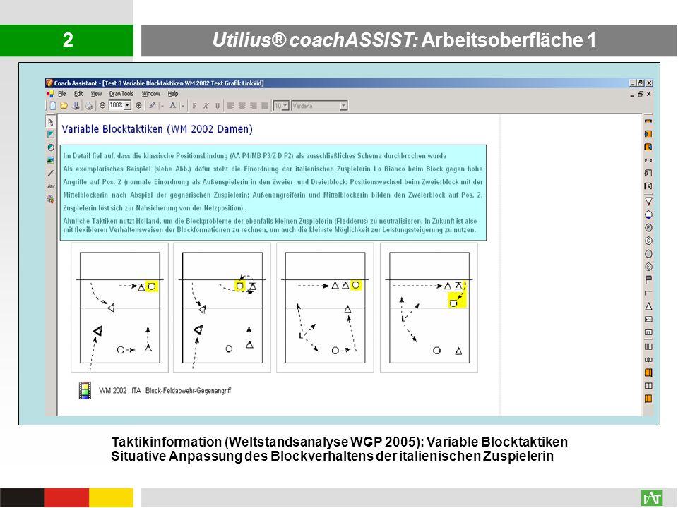 AVI: 196,0 MB WMV: 34,7 MB Utilius® coachASSIST: Arbeitsoberfläche 1 Taktikinformation (Weltstandsanalyse WGP 2005): Variable Blocktaktiken Situative