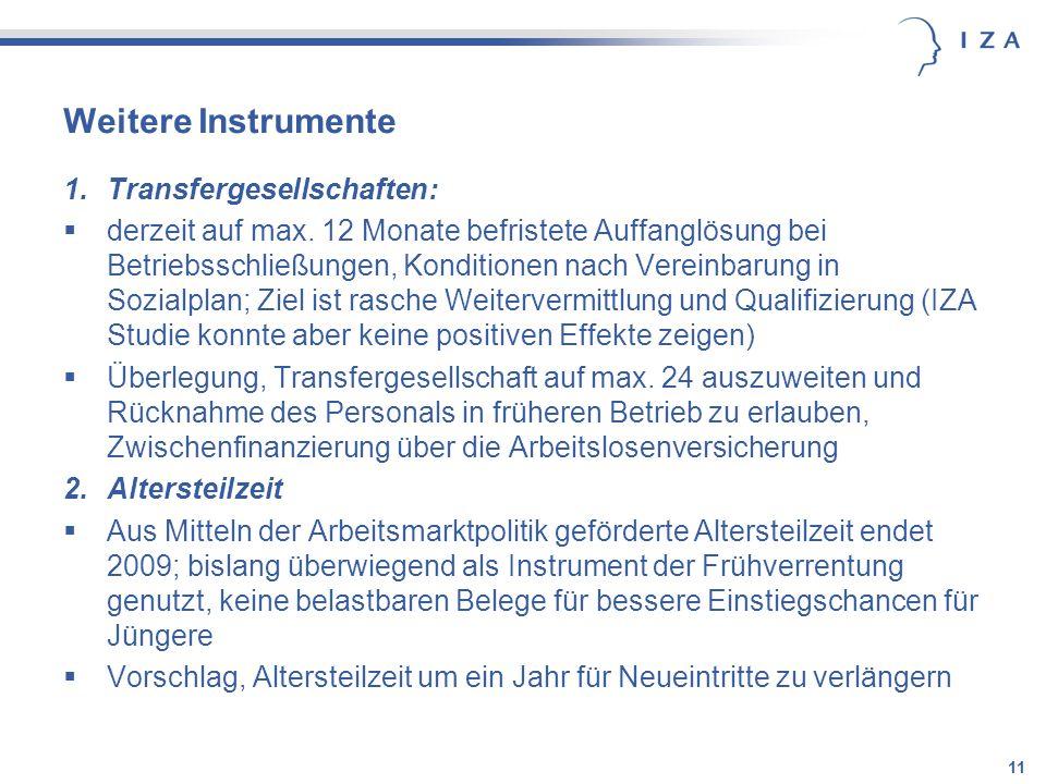 11 Weitere Instrumente 1.Transfergesellschaften: derzeit auf max. 12 Monate befristete Auffanglösung bei Betriebsschließungen, Konditionen nach Verein