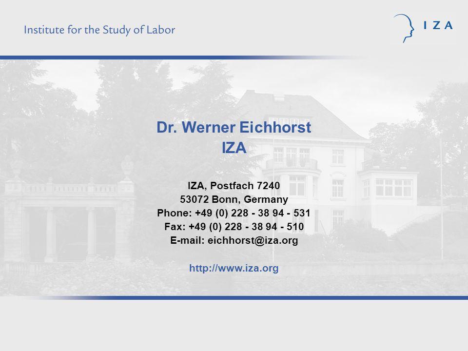 Dr. Werner Eichhorst IZA IZA, Postfach 7240 53072 Bonn, Germany Phone: +49 (0) 228 - 38 94 - 531 Fax: +49 (0) 228 - 38 94 - 510 E-mail: eichhorst@iza.