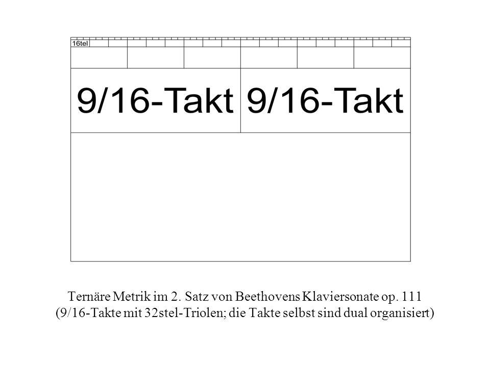 Ternäre Metrik im 2. Satz von Beethovens Klaviersonate op. 111 (9/16-Takte mit 32stel-Triolen; die Takte selbst sind dual organisiert)