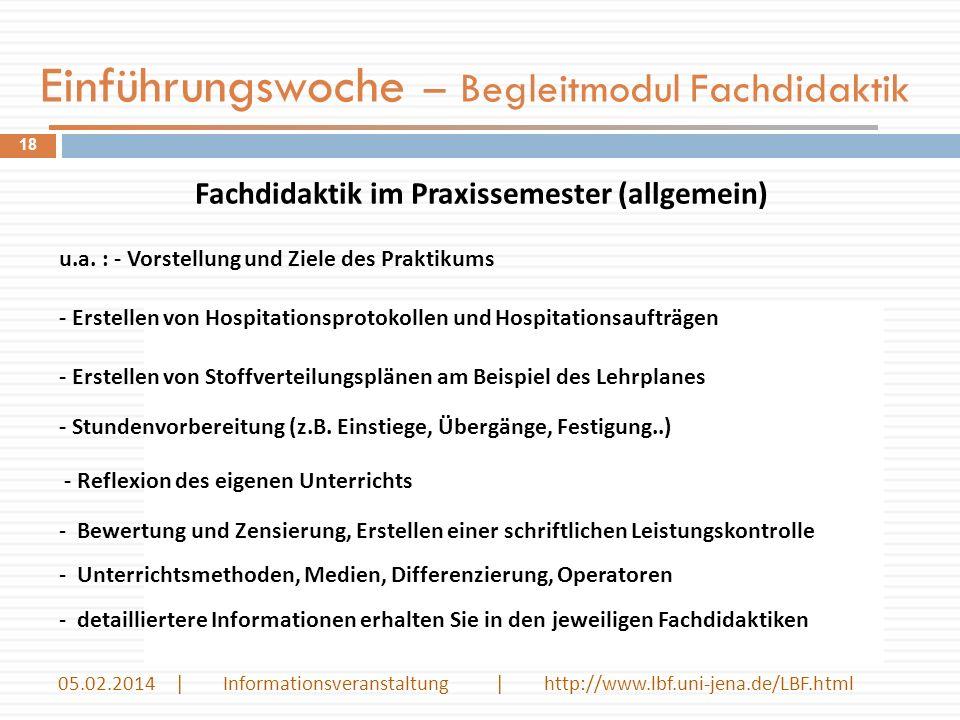 Einführungswoche – Begleitmodul Fachdidaktik Fachdidaktik im Praxissemester (allgemein) u.a.