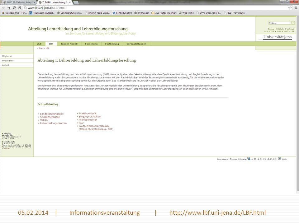Einführungswoche - Schulwirklichkeit Eine kurze Einführung in die Ziele und Inhalte des Begleitmoduls Einführung in die Schulwirklichkeit 19 05.02.2014 | Informationsveranstaltung | http://www.lbf.uni-jena.de/LBF.html