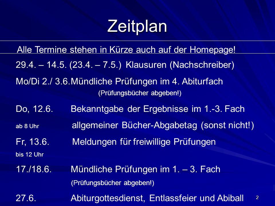 Zeitplan Alle Termine stehen in Kürze auch auf der Homepage! 29.4. – 14.5. (23.4. – 7.5.) Klausuren (Nachschreiber) Mo/Di 2./ 3.6.Mündliche Prüfungen