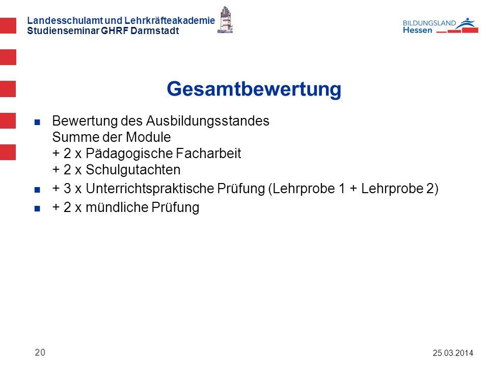 Landesschulamt und Lehrkräfteakademie Studienseminar GHRF Darmstadt 25.03.2014 20 Bewertung des Ausbildungsstandes Summe der Module + 2 x Pädagogische