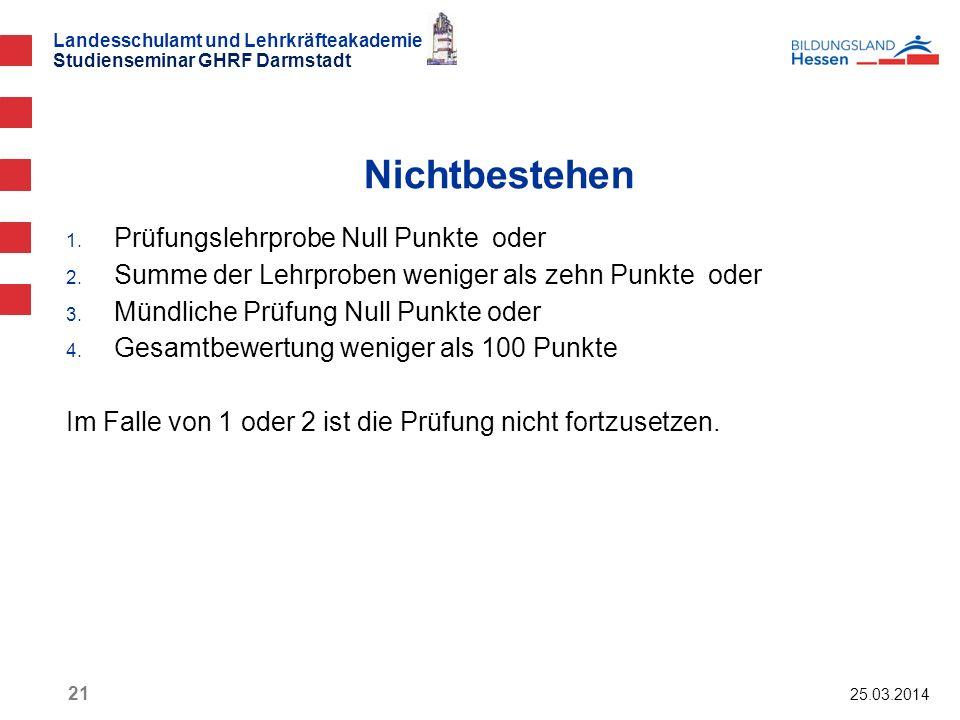 Landesschulamt und Lehrkräfteakademie Studienseminar GHRF Darmstadt 25.03.2014 21 1. Prüfungslehrprobe Null Punkte oder 2. Summe der Lehrproben wenige