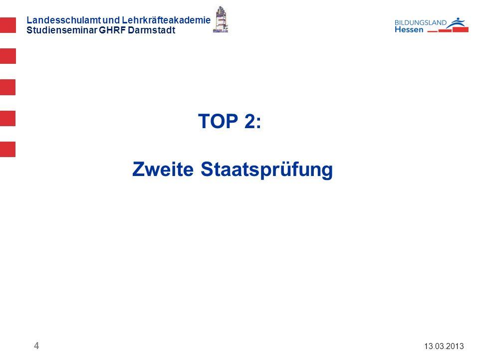 Landesschulamt und Lehrkräfteakademie Studienseminar GHRF Darmstadt TOP 2: Zweite Staatsprüfung 13.03.2013 4