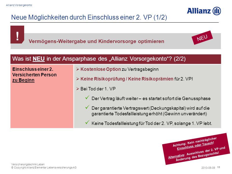 11 Allianz Vorsorgekonto 2013-06-06 Versicherungstechnik Leben © Copyright Allianz Elementar Lebensversicherungs-AG Neue Möglichkeiten durch Einschlus
